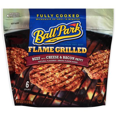 Ball Park Fully-Cooked Flame Grilled Beef with Cheese & Bacon Patties, 6 Count