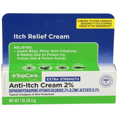 TopCare Extra Strength Anti-Itch Cream Diphenhydramine Hydrochloride 2% & Zinc Acetate 0.1% Topical Analgesic & Skin Protectant