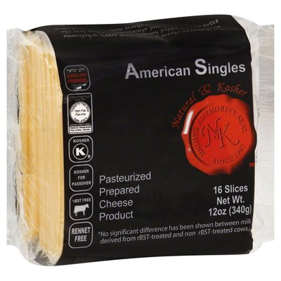Natural And Kosher Cheese, American, Singles, Wrapper
