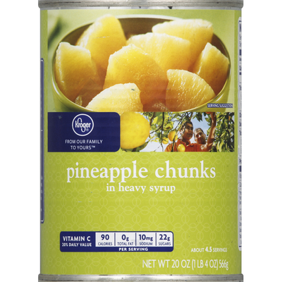 Kroger Pineapple, Chunks, in Heavy Syrup