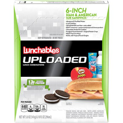 Lunchables 6-Inch Ham & American Cheese Sub Sandwich Meal Kit with Water, Oreo Cookies, Pringles Potato Crisps & Kool-Aid Tropical Punch Single