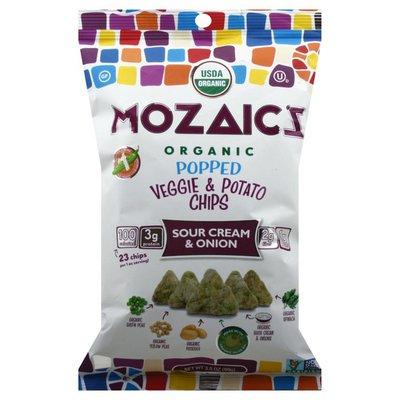 Mozaicz Veggie & Potato Chips, Organic, Popped, Sour Cream & Onion
