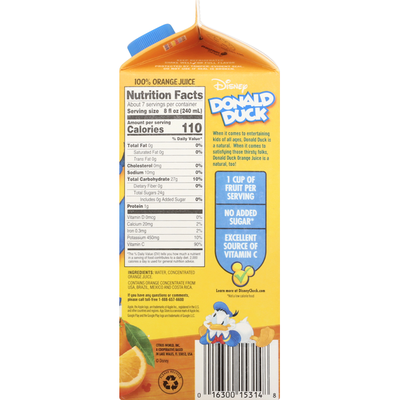 Disney 100% Juice, Orange, No Pulp, Donald Duck