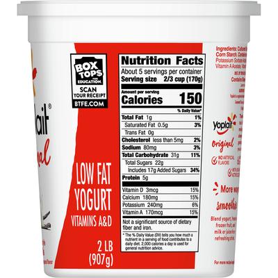 Yoplait Original Yogurt, Vanilla, Low Fat Yogurt