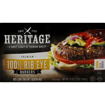 Heritage Burgers, 80%/20%, 100% Rib Eye, 1/3 Pound