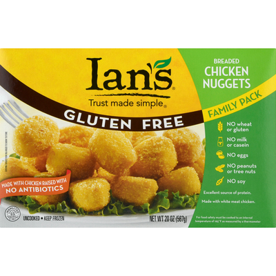 Ian's Chicken Nuggets, Gluten Free, Breaded, Family Pack