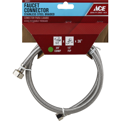 Ace Faucet Connector, Stainless Steel, Braided, 36 Inch