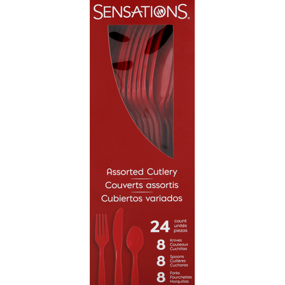 Sensations Cutlery, Red, Plastic, Assorted