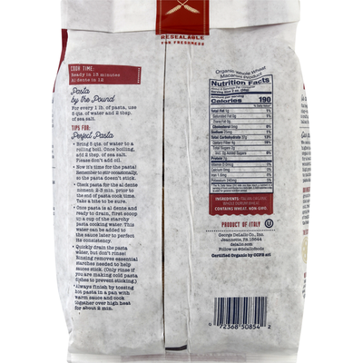 DeLallo Rigatoni No. 21 100% Organic Whole Wheat Pasta