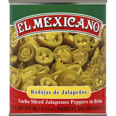 El Mexicano Jalapenos Peppers, in Brine, Nacho Sliced