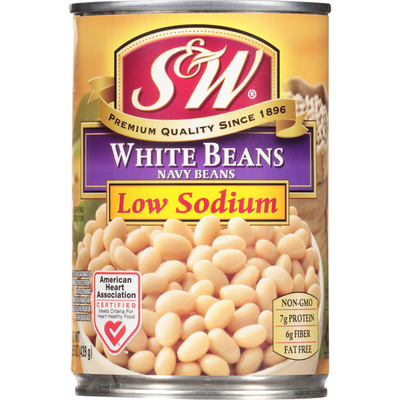 S&W White Beans, Low Sodium, Navy Beans