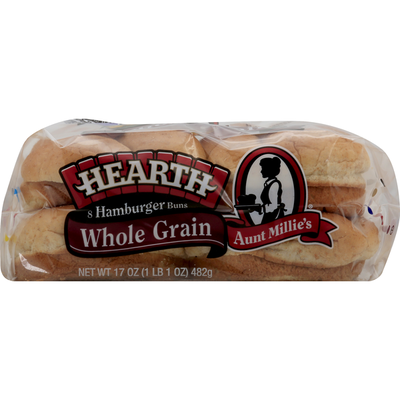 Aunt Millie's Hamburger Buns, Whole Grain, Hearth
