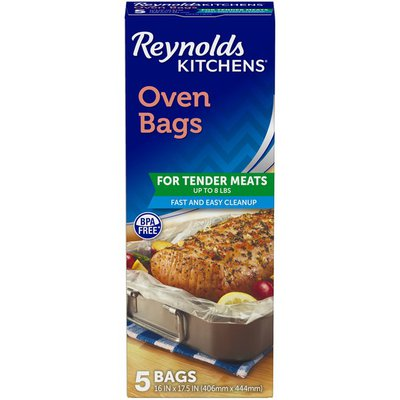 12 Packages of 5 Liners 60 Total Reynolds Kitchens Large Size Oven Bags 16x17.5 Inch