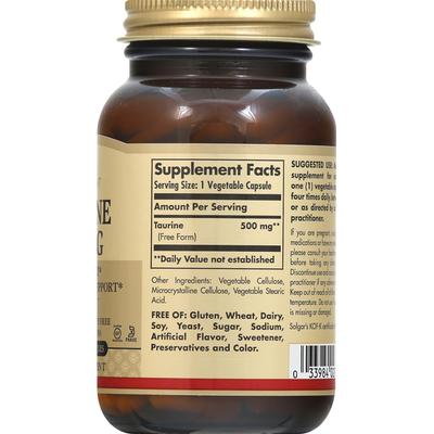 Solgar Taurine, 500 mg, Vegetable Capsules