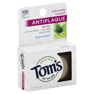 Tom's of Maine Flat Floss, Antiplaque, Naturally Waxed, Spearmint