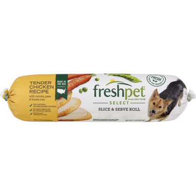 Freshpet Slice & Serve Roll Tender Chicken Recipe With Carrots, Peas & Brown Rice