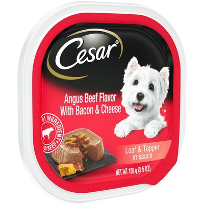 CESAR Loaf & Topper in Sauce Angus Beef Flavor with Bacon & Cheese Canine Cuisine