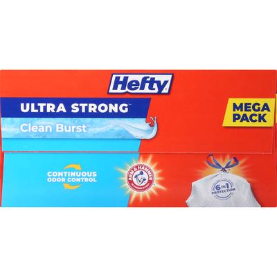 Hefty Ultra Strong Tall Kitchen Drawstring Bags Clean Burst