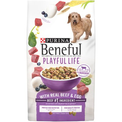 Purina Beneful Dry Dog Food, Playful Life With Real Beef & Egg Accented With Blueberries & Spinach