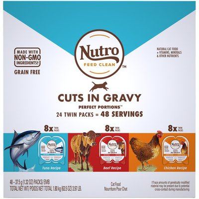 NUTRO Perfect Portions Cuts in Gravy Adult Cat Food Variety Pack
