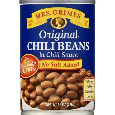 Mrs Grimes Chili Beans in Chili Sauce, No Salt Added, Original