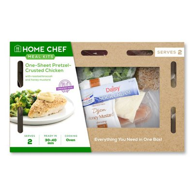 Home Chef Meal Kit One-Sheet Pretzel-Crusted Chicken With Roasted Broccoli And Honey Mustard