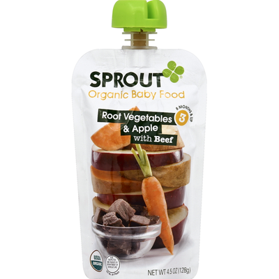 Sprout Baby Food, Organic, Root Vegetables & Apple with Beef, 3 (8 Months & Up)