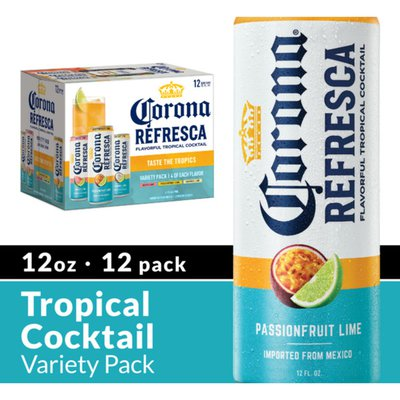 Corona Refresca Variety Pack with Guava Lime, Passionfruit Lime, and Coconut Lime Spiked Tropical Cocktail Cans