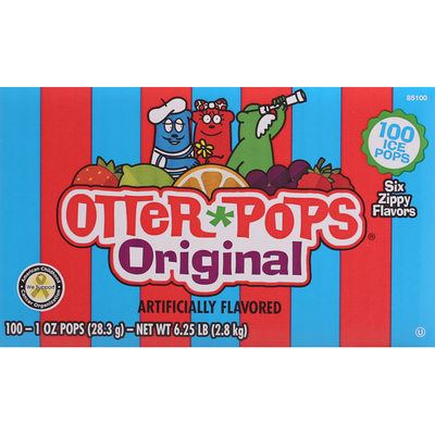 Otter Pops Ice Pops, Six Zippy Flavors, Original, 100 Pack