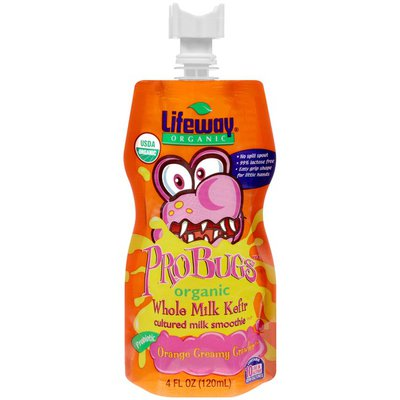 Lifeway ProBugs Orange Creamy Crawler Organic Whole Milk Kefir Cultured Milk Smoothie