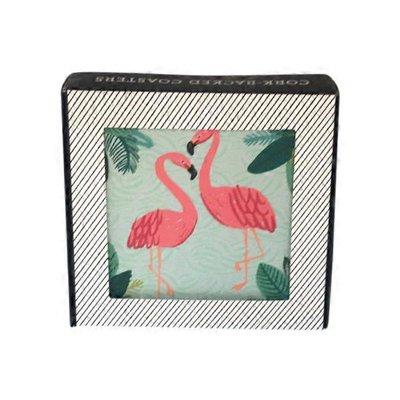 Now Designs 4 Piece Flamingo Dishes, Glassware & Bakeware Coasters Set