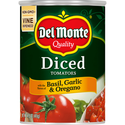 Del Monte Diced Tomatoes Diced with the Flavors of Basil Garlic & Oregano
