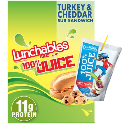 Lunchables Turkey & Cheddar Cheese Sub Sandwich Meal Kit with Capri Sun Fruit Punch 100% Juice Drink & Mini Chocolate Chip Cookies