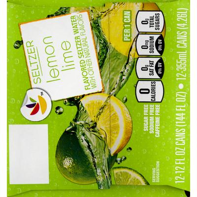 SB Seltzer Water, Lemon Lime Flavored, 12 Pack