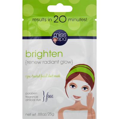 Miss Spa Facial Sheet Mask, Pre-Treated, Brighten