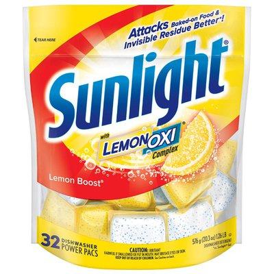 Sunlight Lemon Boost Power Pacs Dishwashing Detergent