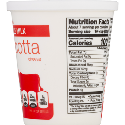 Food Lion Whole Milk, Ricotta Cheese, Cup/Tub