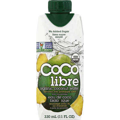 Coco Libre Organic Coconut Water, Organic, Flavored with Pineapple Juice