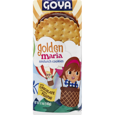 Goya Golden Maria Sandwich Cookies with Chocolate Flavored Filling