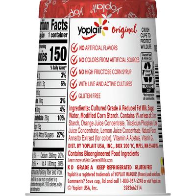 Yoplait Original Yogurt, Orange Crème, Low Fat Yogurt