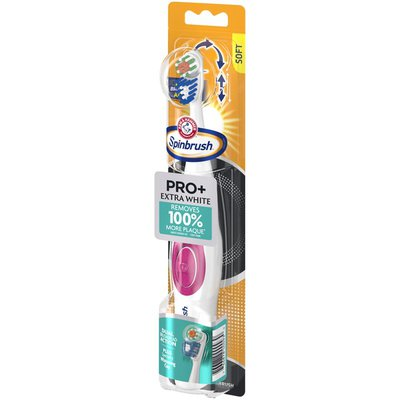 Spinbrush Arm & Hammer  Pro+ Extra White Battery-Operated Toothbrush –  Battery Powered Toothbrush Removes 100% More Plaque- Soft Bristles -Batteries Included