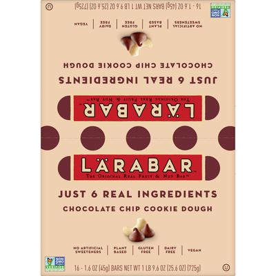 Larabar Gluten Free Bar, Chocolate Chip Cookie Dough, 16 Bars
