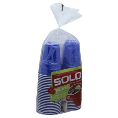Solo Plastic Cups, Squared, 18 Ounce