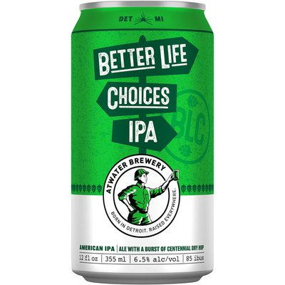 Atwater Brewery Better Life Choices IPA Beer