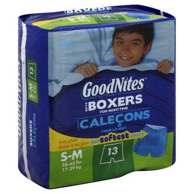 GoodNites Boxers, Boys, S-M (38-65 lbs), Jumbo