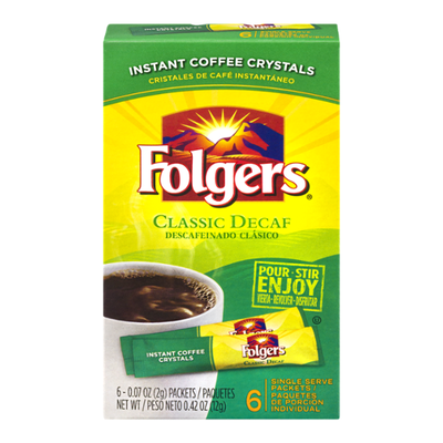 Folgers Coffee, Instant Crystals, Classic Decaf, Single Serve Packets