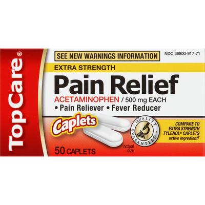 TopCare Acetaminophen, 500 mg, Extra Strength, Caplets