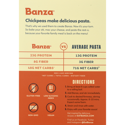 Banza Penne, Made from Chickpeas