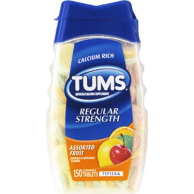 Tums Regular Strength Assorted Fruit Antacid/Calcium Supplement Chewable Tablets - 150 CT
