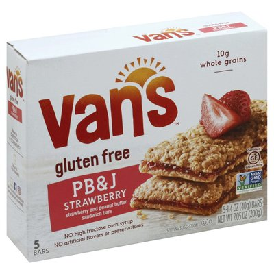 Van's Sandwich Bars, Gluten Free, PB&J Strawberry